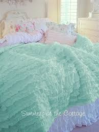 shabby coastal cottage beach house chic dreamy aqua ruffles twin