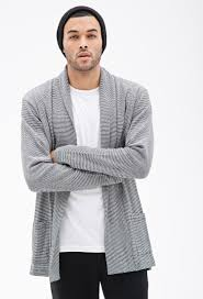 Open Drape Cardigan Sweater Forever 21 Striped Open Front Cardigan In Black For Men Lyst