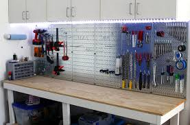 workbench with pegboard and light garage pegboard with led light accents wall control metallic