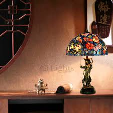Stained Glass Light Fixtures Kapok Pattern Stained Glass Lamp For Bedroom