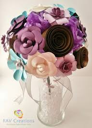 home decor handmade turquoise and dark purple paper flowers in vase home decor