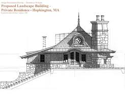 design development elevation drawing for small cottage building in