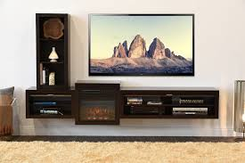 long floating tv console with square fireplace and bookshelf of