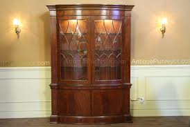 Lighted Display Cabinet High End Bow Front China Cabinet Hutch Mahogany Display Cabinet