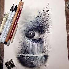 dark nature eye art sketch drawing colored pencils