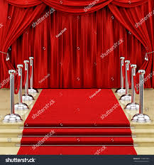 Silver And Red Curtains Render Red Carpet Silver Stanchions Curtains Stock Illustration