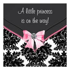 black damask pink bow princess baby shower invitation