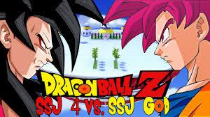 dragon ball z super saiyan 4 goku vs super saiyan god goku
