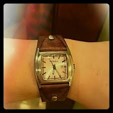 fossil steel leather bracelet images Authentic brown leather fossil watch women 39 s fossil stainless jpg