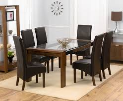 Rochelle Furniture Walnut Dining Table And Chairs Glass Top Table - Walnut dining room chairs