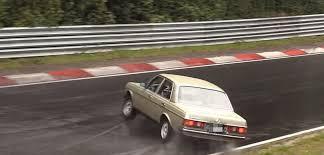 nurburgring crash of w123 mercedes benz oldtimer is wet slow