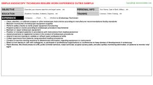 endoscopy technician resume sample