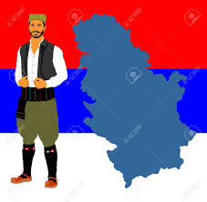 Flag Of Serbia Republic Of Serbia Vector Map Isolated On Serbian Flag Background