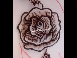 youtube shaded rose flower henna mehndi design step by step