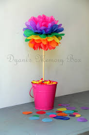 set of 12 rainbow tissue paper pom poms with wood dowel wedding
