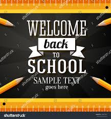 welcome back school greeting card place stock vector 148877897
