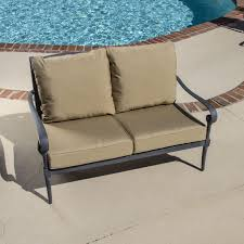 White Resin Wicker Loveseat Furniture Patio Loveseat With Cushions For Exciting Outdoor