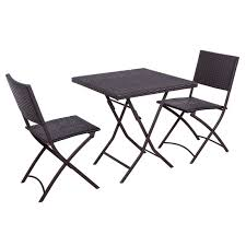 Folding Bistro Table And Chairs Set Palm Springs Garden Furniture Rattan Wicker Folding Bistro Set W