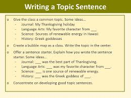 writing topic sentences ppt