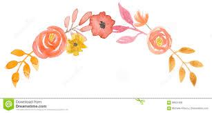 watercolor berries wreath flowers garland orange leaf stock