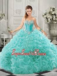 really puffy aqua blue 15th birthday party dress with beading and