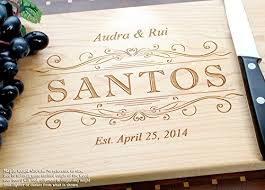 engraved wedding gifts classic swirl personalized engraved cutting board wedding gift