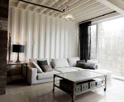 corrugated metal ceiling basement living room industrial with
