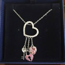 lock key pendant necklace images Swarovski heart lock key pendant poshmark jpg