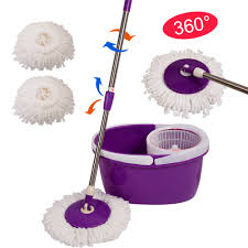 Floor 360 by Easy Magic Floor Mop Bucket 2 Heads Microfiber Spin Mop Rotating