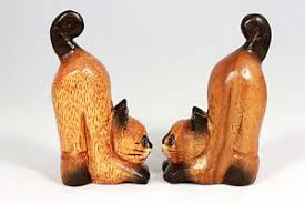 wooden cat ornaments pair of 4 bottoms up handmade