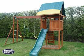 harwood climbing frame with slide and monkey bar swing beam