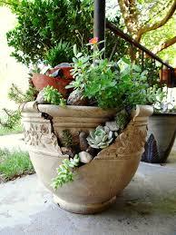 Pot Garden Ideas Broken Pot Garden Hometalk