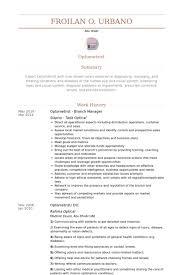Branch Manager Resume Sample optometrist resume samples visualcv resume samples database