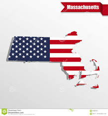 Massachusetts State Map by Massachusetts State Map With Us Flag Inside And Ribbon Stock
