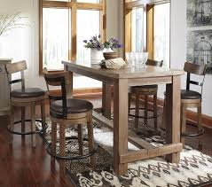 Dining Room Table With Swivel Chairs by 5 Piece Counter Table Set With Upholstered Swivel Stools With Wood