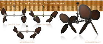 Twin Ceiling Fan by 50 Inch Double Twin Star Ceiling Fan With Distressed Walnut Blades