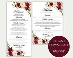 menu template etsy