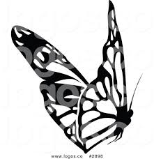 royalty free black and white butterfly logo by dero 2898