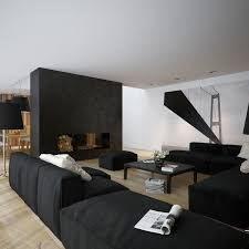 black walls living room white fireplace white base grey pendant