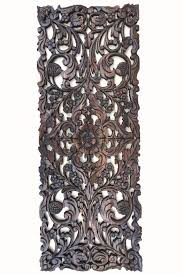floral wood carved wall panel asian home decor wall hanging