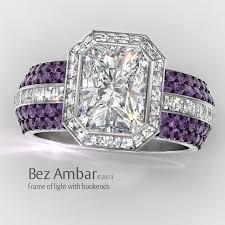amethyst wedding rings frame of radiant cut diamond wedding ring set