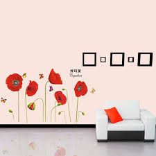 only medium red bright corn poppy beautiful diy wall only medium red bright corn poppy beautiful diy wall wallpaper stickers art tomtop