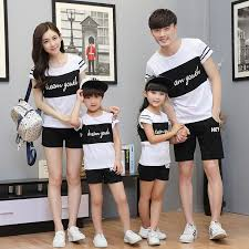 family matching summer father and son t shirt clothes 2017