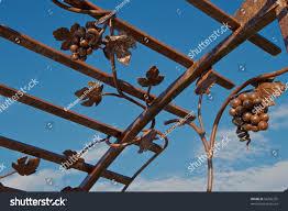 brown iron trellis grape vine design stock photo 56296255