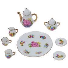 8pcs 1 6 dollhouse miniature dining ware porcelain dish cup plate