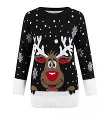 rudolph sweater smiling rudolph reindeer sweater black