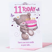 hugs 11th birthday card with cake only 59p