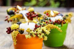 Candle Holders Decorated With Flowers Candle Holder Decorated With Autumn Flowers Stock Photo Image