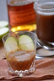 bourbon with apple cider syrup minced