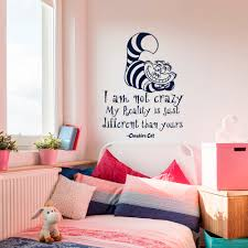 alice in wonderland wall decals quotes cheshire cat i am not